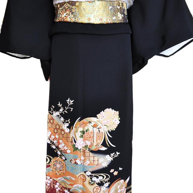 黒留袖レンタル■正絹流れの有る大胆な構図に松、梅、亀甲そして花車に鶴の柄■L寸kurot1[往復送料無料] - 画像1
