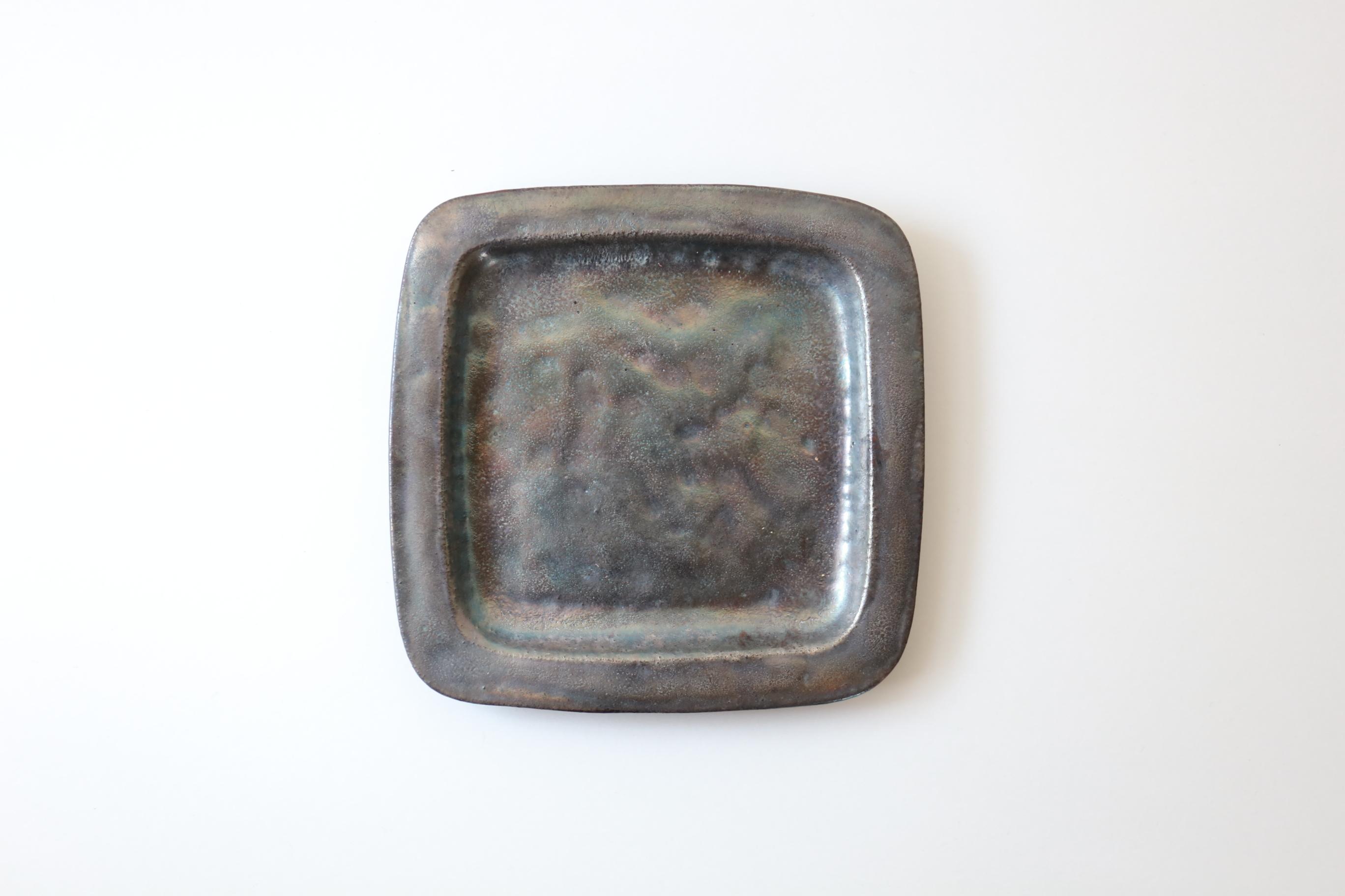 くにさきかたち工房 銀彩角リム皿