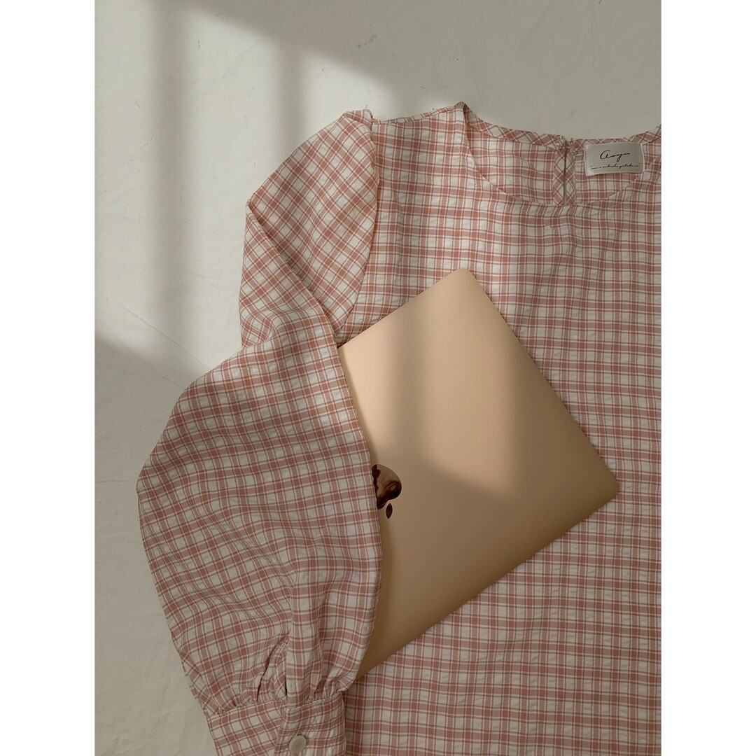 【asyu】gingham check blouse