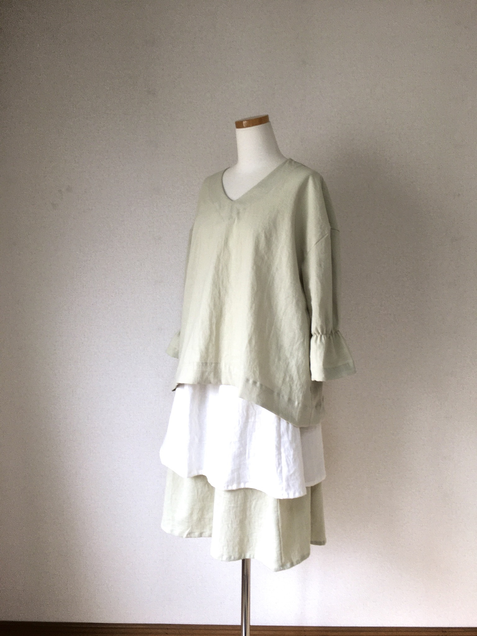 【限定製造】cottonlinenオーバーラップスカート