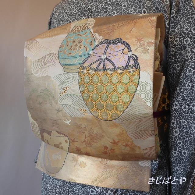 正絹 茶道具柄の袋帯