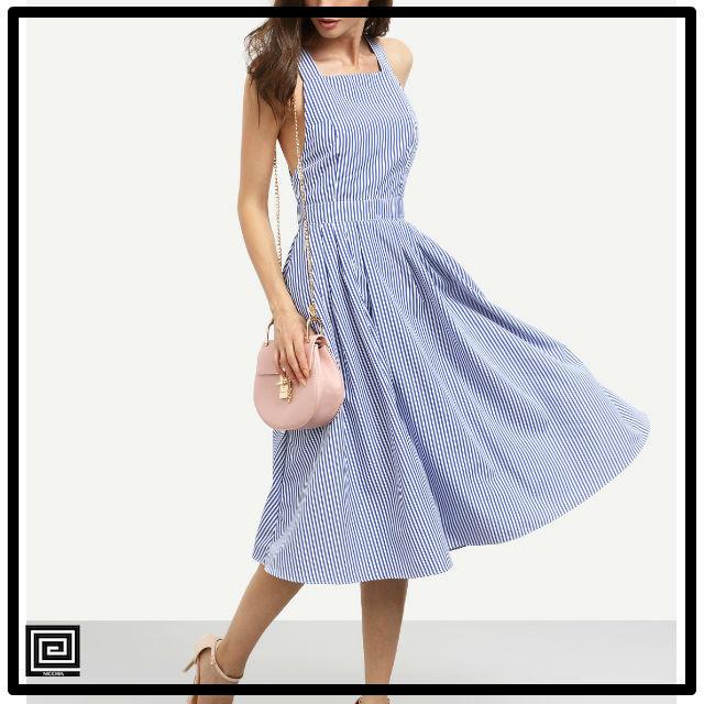 ブルーストライプノースリーブクリスクロスバックドレス