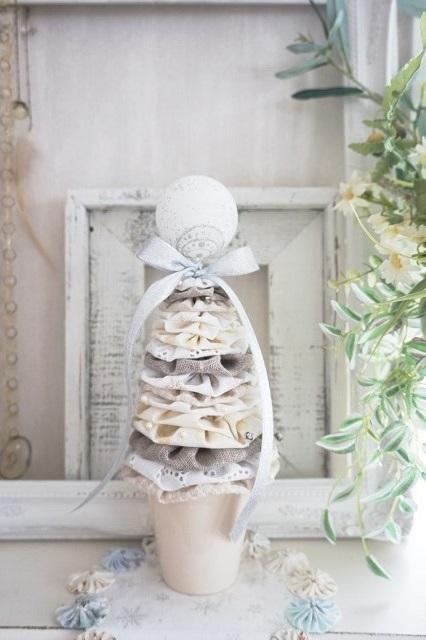 ★可愛いヨーヨーキルトで作るクリスマスツリー★ ホワイト