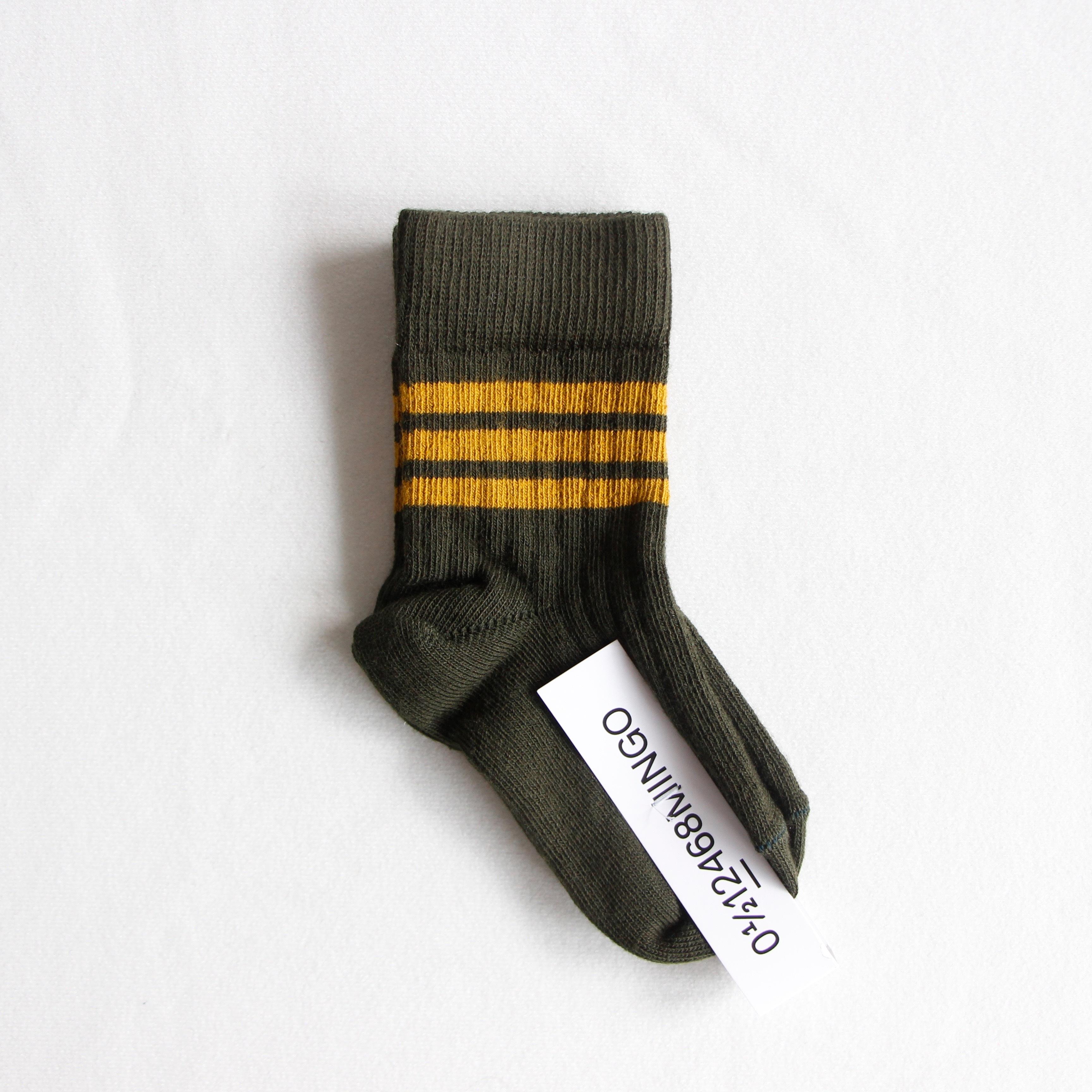 《MINGO. 2020AW》Socks Rib / Stripes Ochre × Forest night