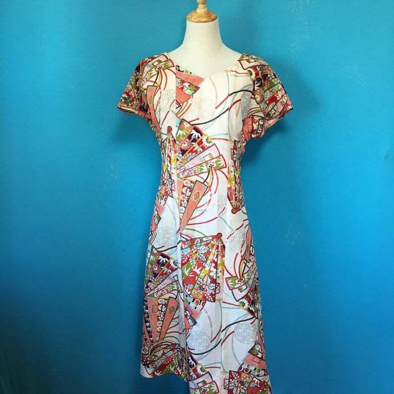 Vintage retro kimono dress/ US 6