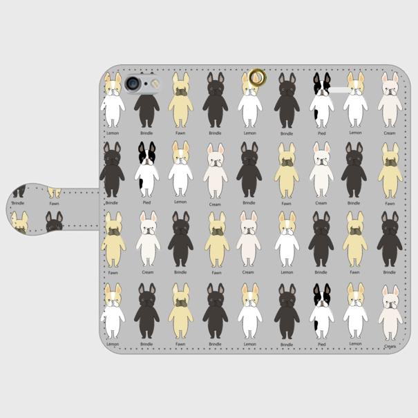 <受注製作>iPhoneX/8/7/6/6s/5/5s/SE/手帳型 スマホケース フレブルちゃん グレー