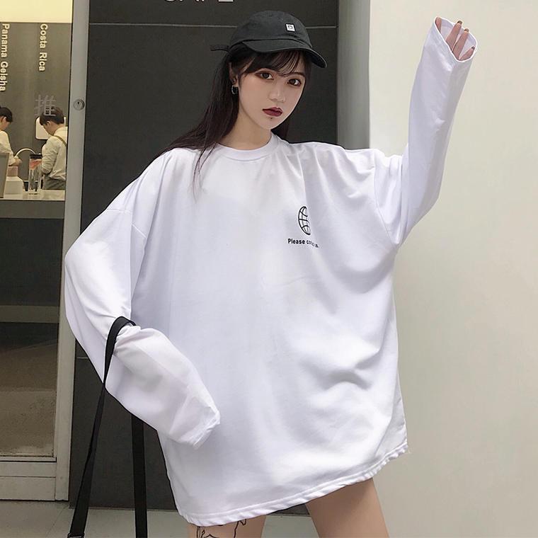 【送料無料】モノクロ デザイン ♡ カジュアル メンズライク ビックシルエット バックプリント ロゴ ロンT Tシャツ カットソー トップス