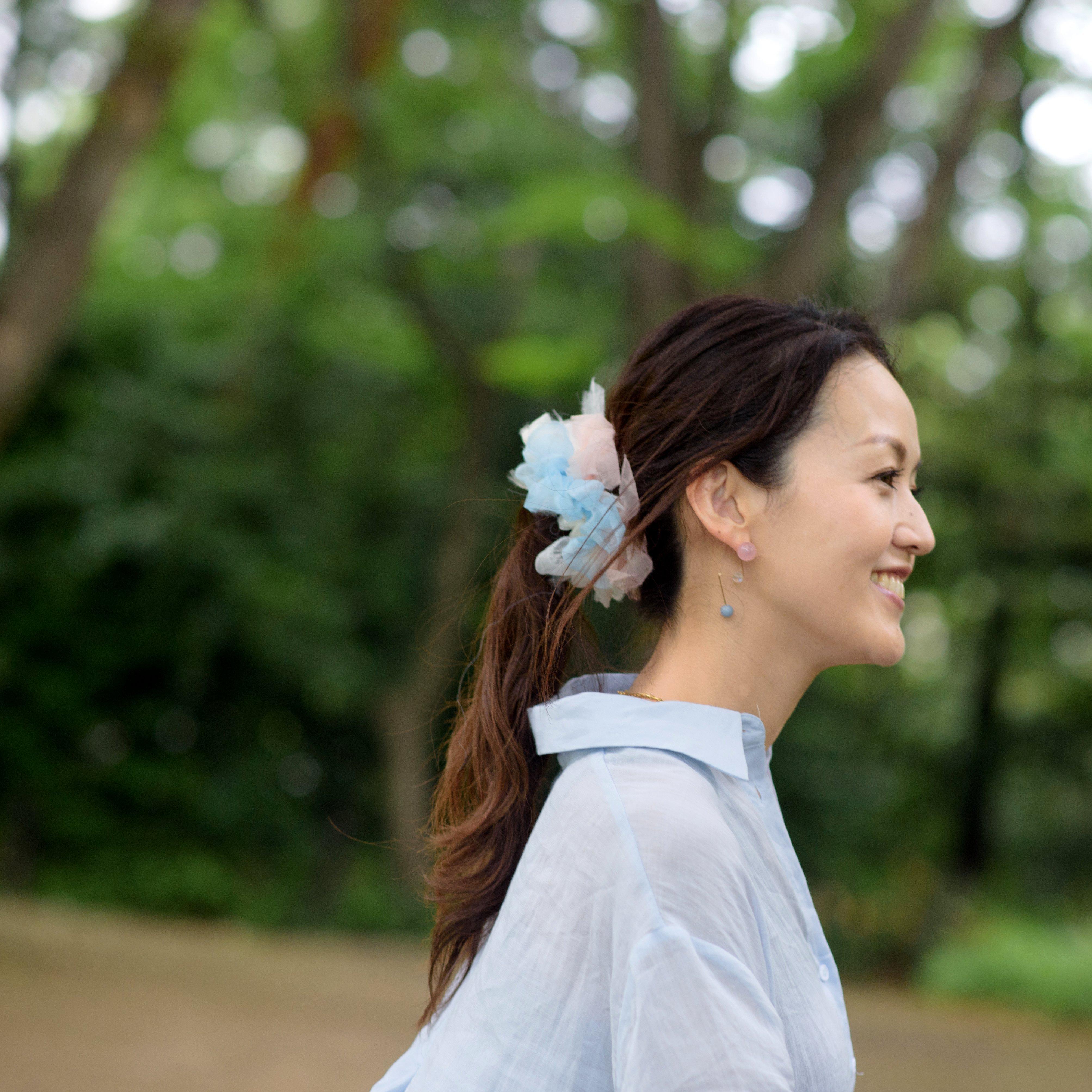 Pastel~彩る咲き編みシュシュ