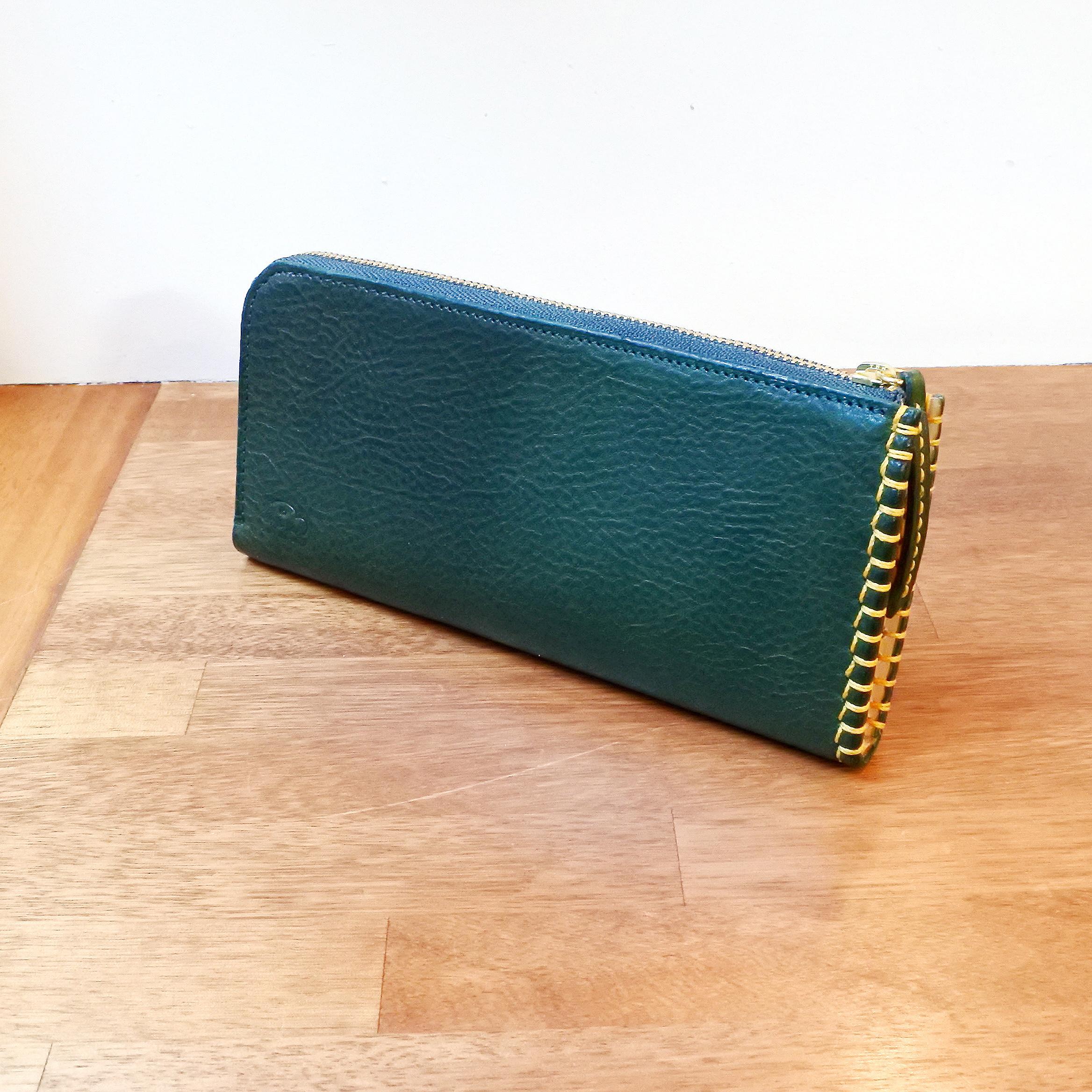 革と糸が選べるオーダーメイドL字ファスナースリム長財布(革:VACCHETTA800/バケッタ800・モスグリーン)