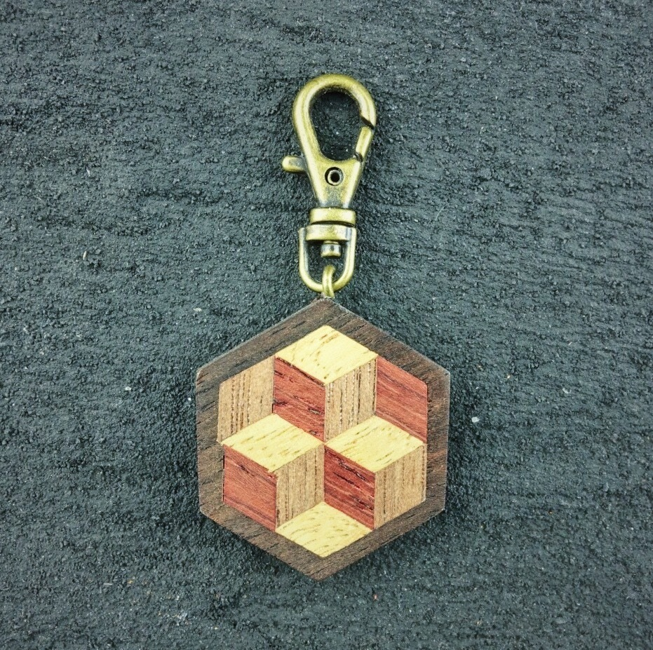 wooden inlaid charm IH-002-EB