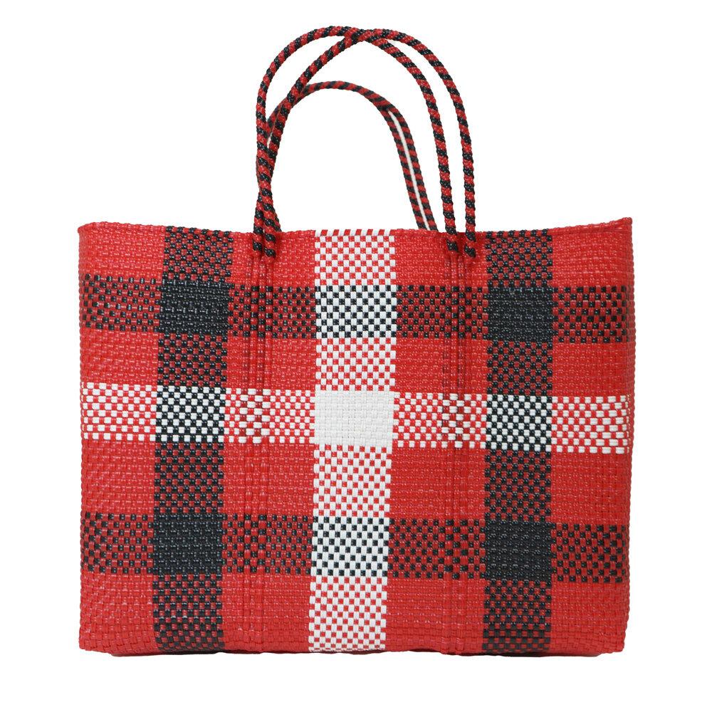 MERCADO BAG 3CHECK - Red x White x Black(L)
