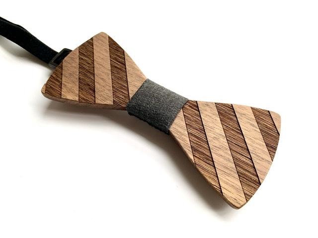 木製 蝶ネクタイ #Diagonal stripe - 画像4