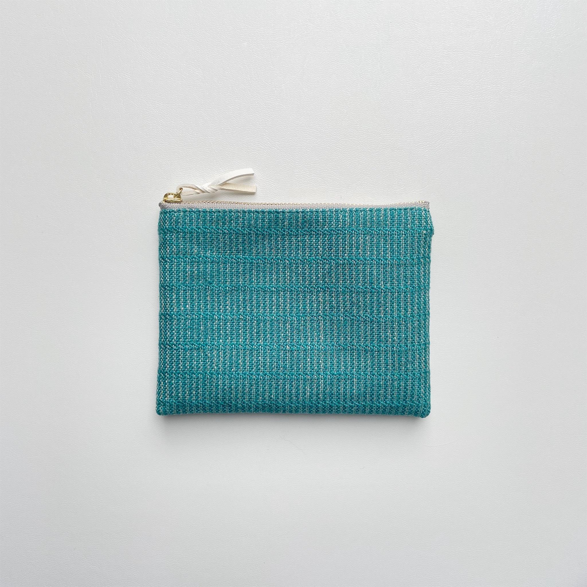 手織りミニポーチ(Accessory case 14cm  Turquoise blue Alinea)