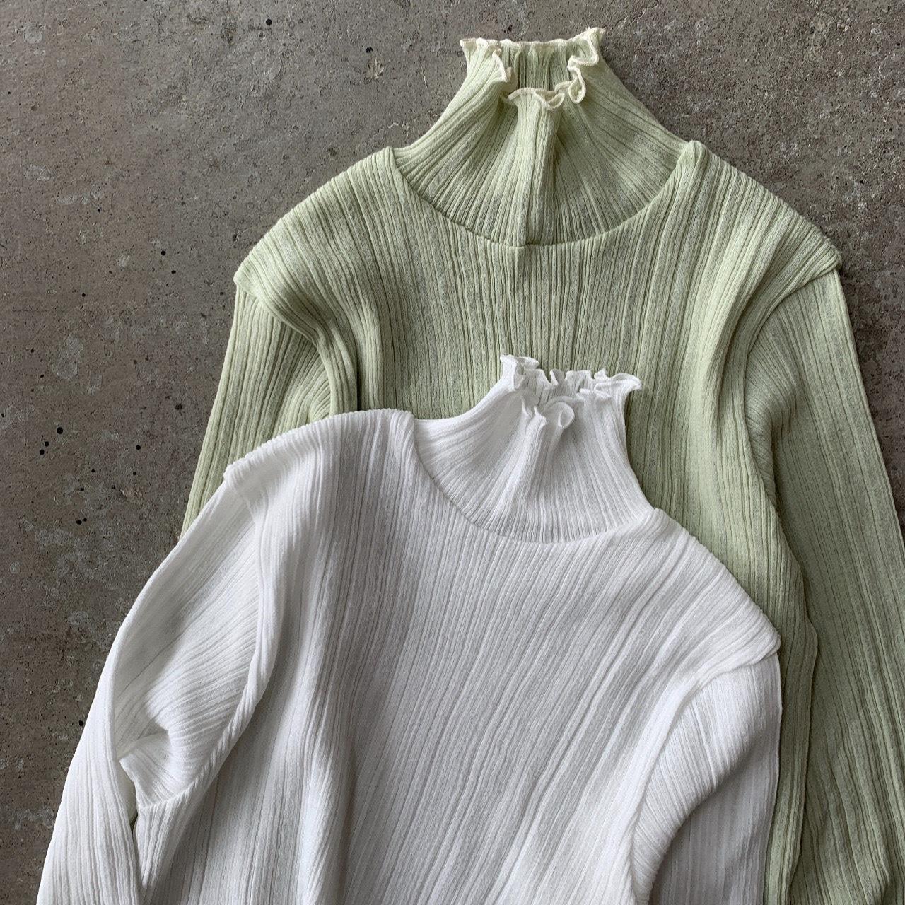 PHEENY - Cotton nylon rib frill high neck