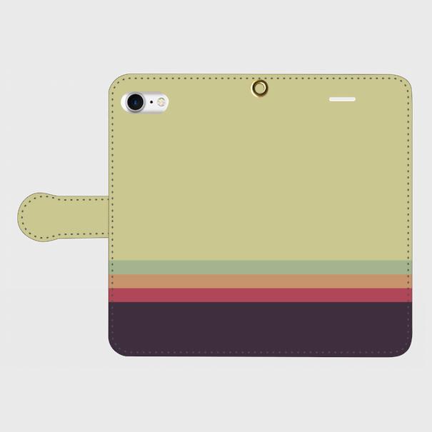 レトロストライプ(薄緑・薄水・橙・赤・紺)/iPhoneスマホケース(手帳型ケース)