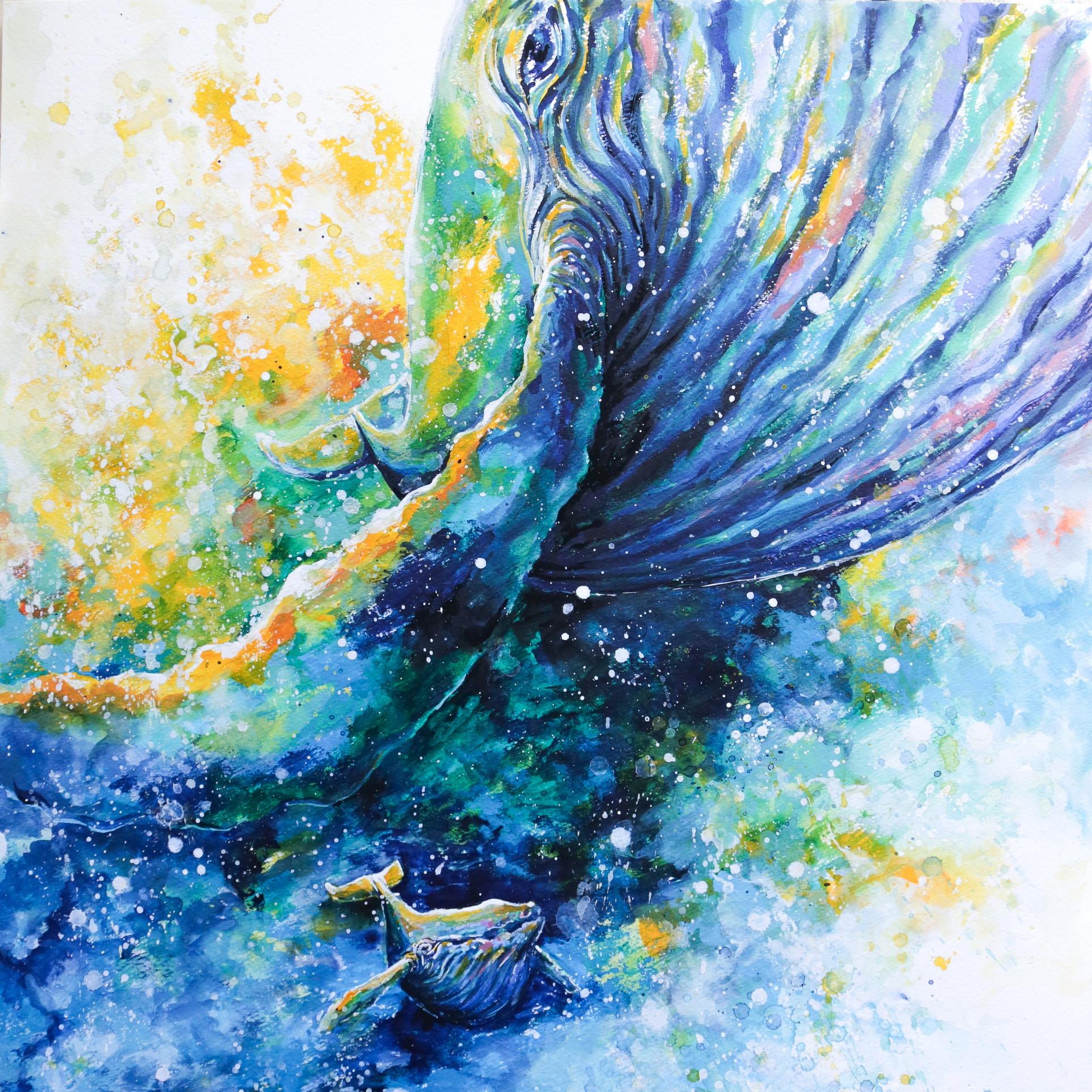 絵画 インテリア アートパネル 雑貨 壁掛け 置物 おしゃれ 水彩画 クジラ 動物 海 ロココロ 画家 : 平田幸大 作品 : 躍進