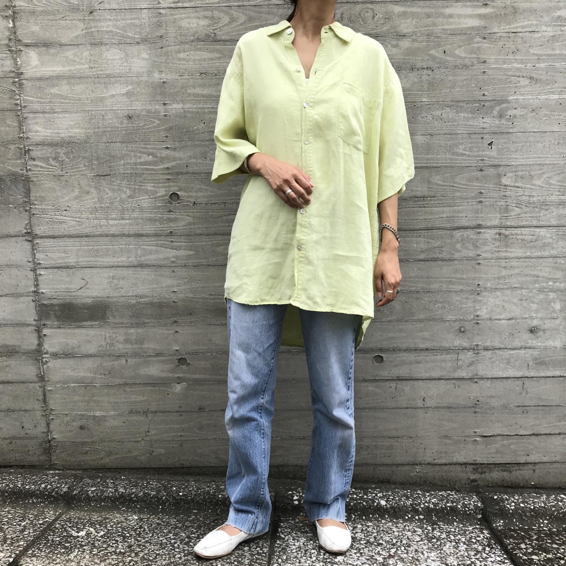 """【今だけ送料無料】USED """" リネン ライムグリーンレギュラーカラーシャツ """""""