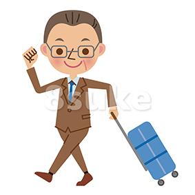 イラスト素材:スーツケースを引いて歩く中年のビジネスマン(ベクター・JPG)