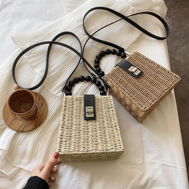 【送料無料】 春夏トレンド♡ スクエア型 ミニサイズ かご ショルダーバッグ パールハンドル ハンドバッグ カバン