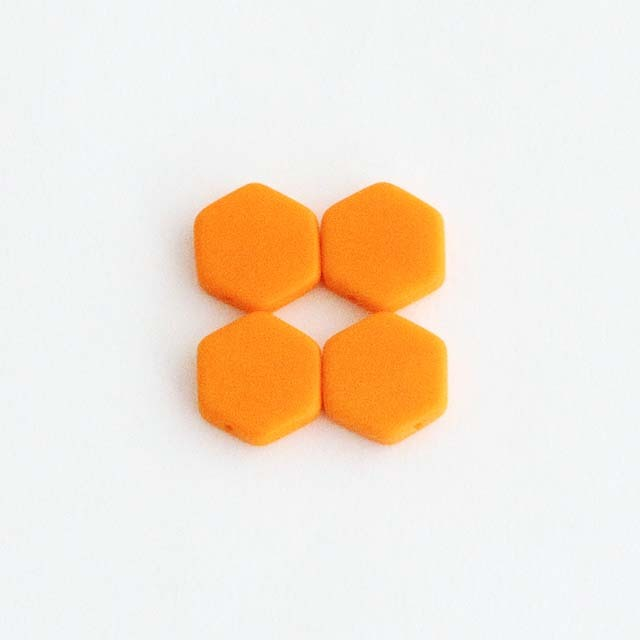 フランスビーズ:六角17mm マットオレンジ