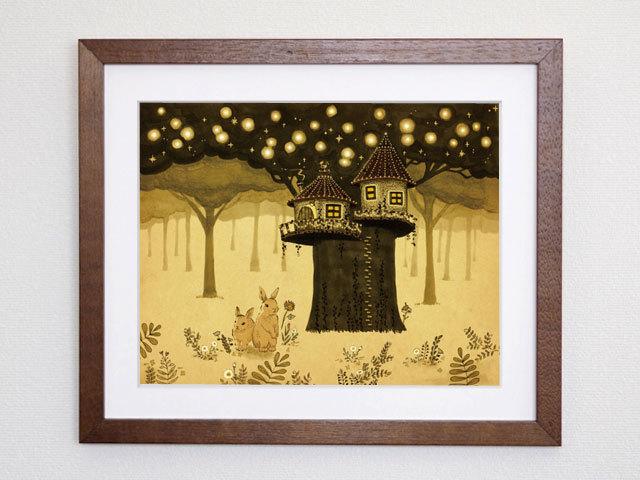 【額入り絵画・6切】絵本の中のウサギとツリーハウス