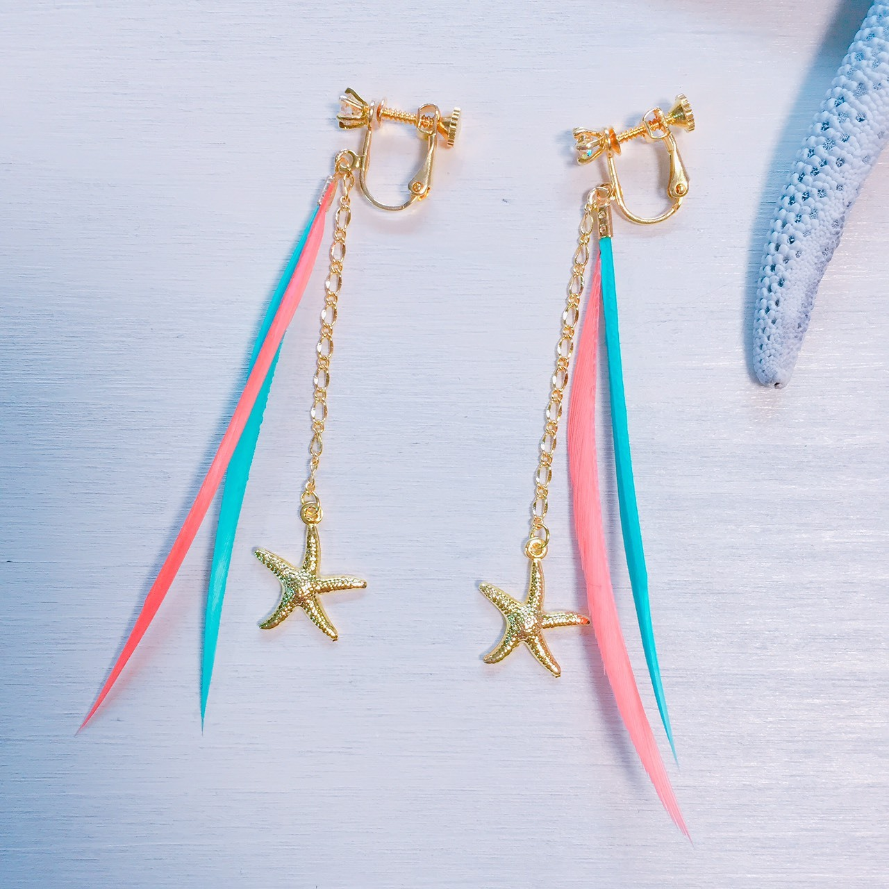 Feather×chain×starfish earring