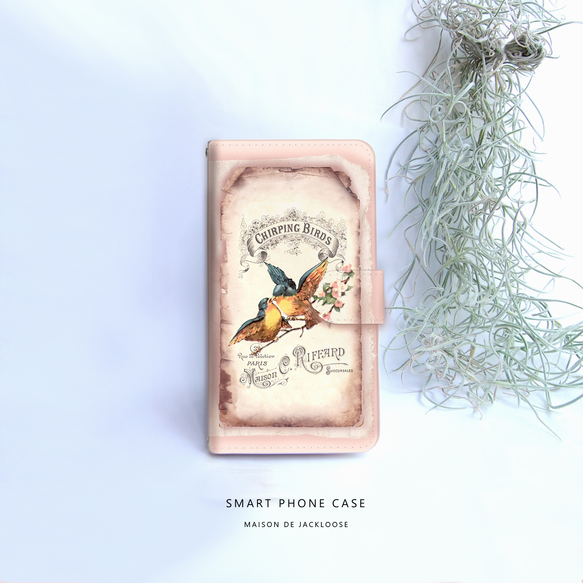 【スマホケース手帳型】可愛い古書デザイン・青い鳥・iPhone Xperia AQUOS Galaxy etc ほぼ全機種対応