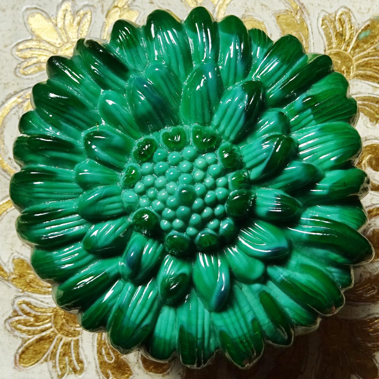 チェコスロバキア ボヘミアガラスのジュエリーポット ひまわり / マラカイトグリーン