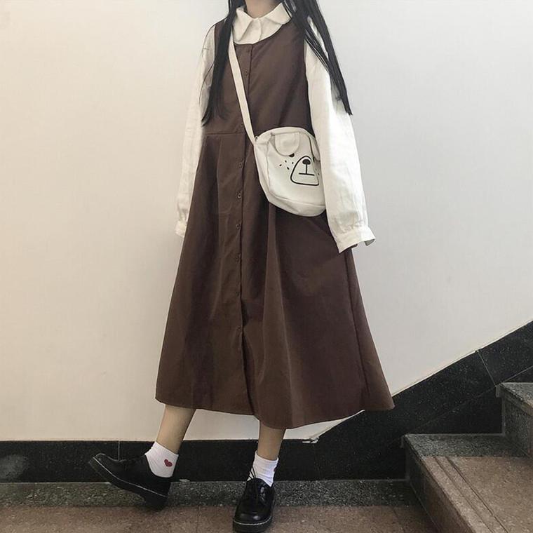 【送料無料】ナチュラルコーデ ♡ 2点セット セットアップ カジュアル 襟付き トップス × ロング丈 ジャンパースカート ワンピース