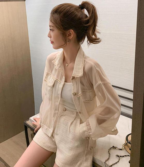 【送料無料】涼しげセットアップ ♡ 2点セット きれいめ カジュアル 異素材 ジャケット × ショート パンツ