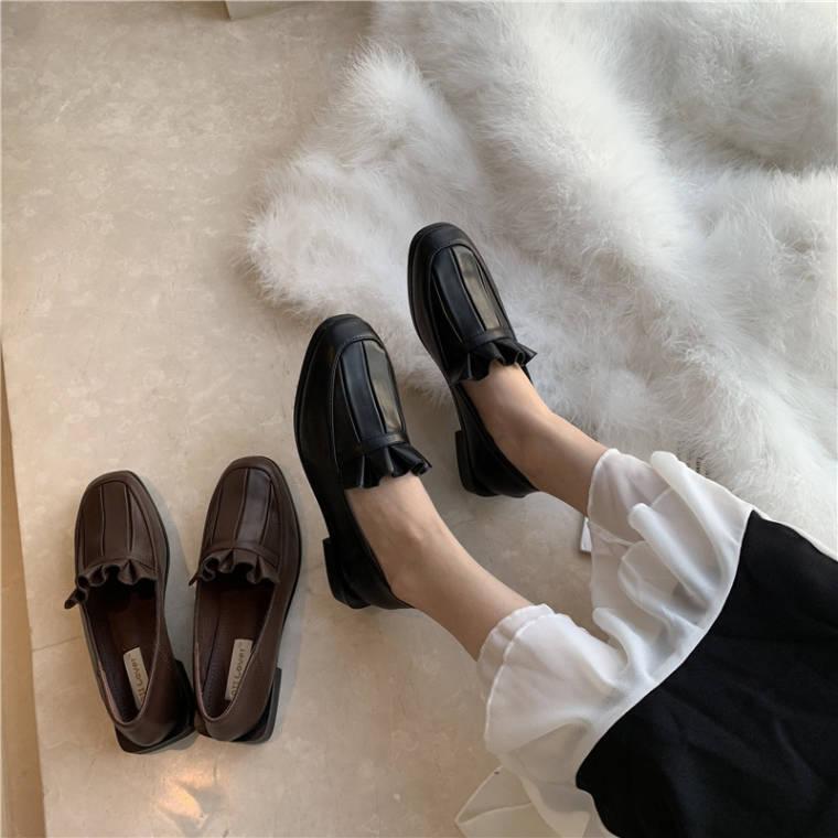 【送料無料 】フリルデザインがおしゃれ ♡  レトロ ガーリー カジュアル レザー調 ローファー シューズ 靴