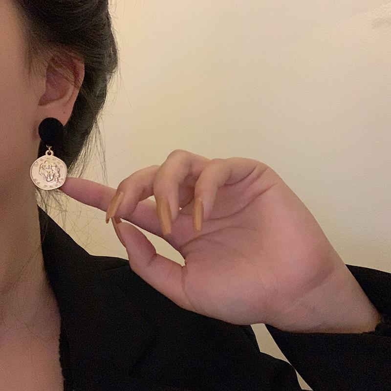 香港風コインメットメタルピアス【Hong Kong coin metal ear ring】