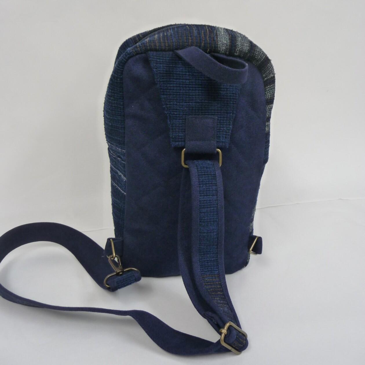 藍色裂織ワンショルダーバッグ