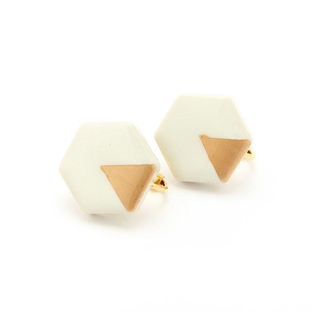 伝統工芸品 美濃焼 六角形 月華のイヤリング&ピアス ホワイト