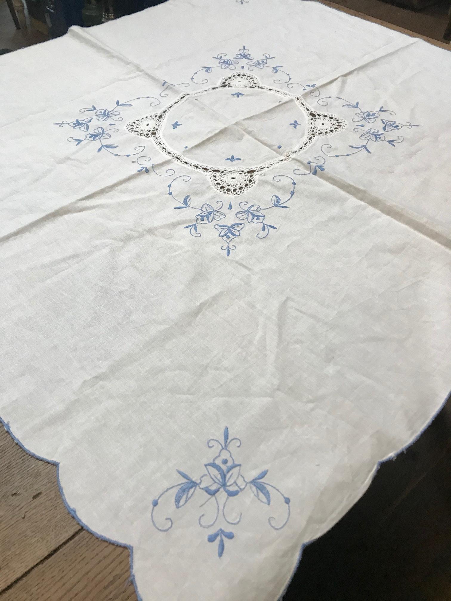 フランス ヴィンテージ 刺繍 コットンクロス J