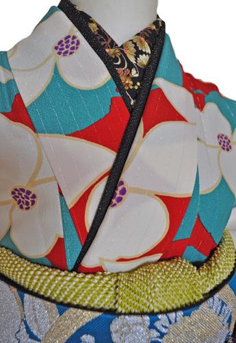 レンタル着物612-1「レンタルパーティーきもの」和風館青緑色と赤色に花柄【往復送料無料】 - 画像3