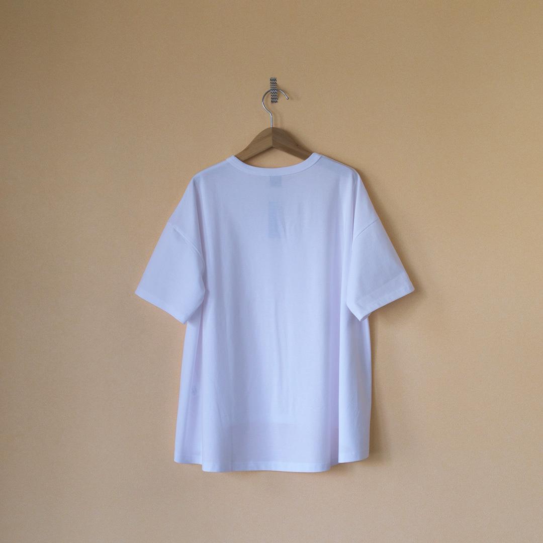 TRAVAIL MANUEL トラバイユマニュアル  ミディ天竺バックフレアTシャツ・ホワイト