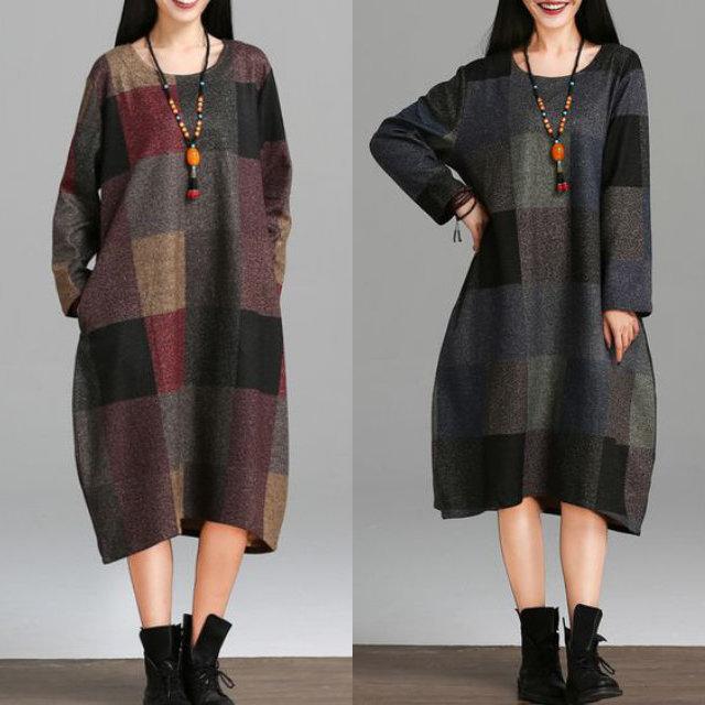 【Women's】 メランジ調 ブロックチェック柄 ワンピース (Block Check Dress)