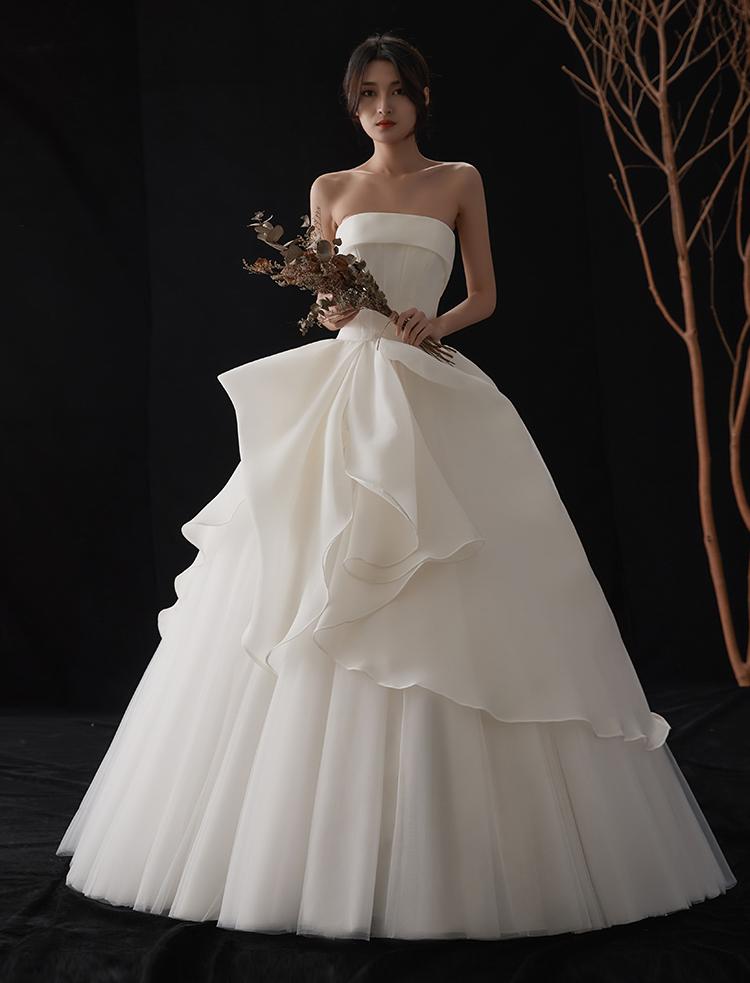 【DearWhite】ウェディングドレス Aライン プリンセス エンパイア デコルテ 結婚式 披露宴 二次会 パーティーウェディングドレス_サイズオーダー格安オーダーメイド DW0006