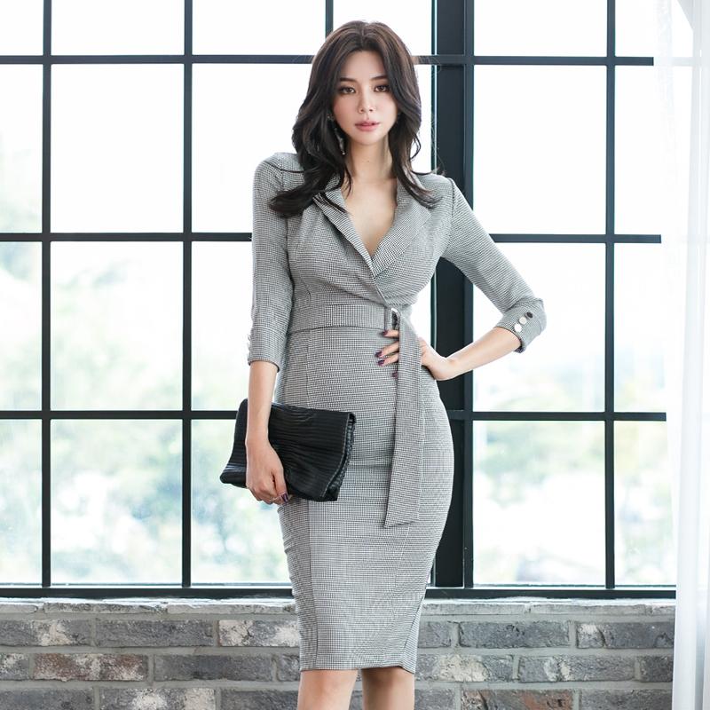 【ワンピース】ファッション切り替えチェック柄ニットワンピース24905718