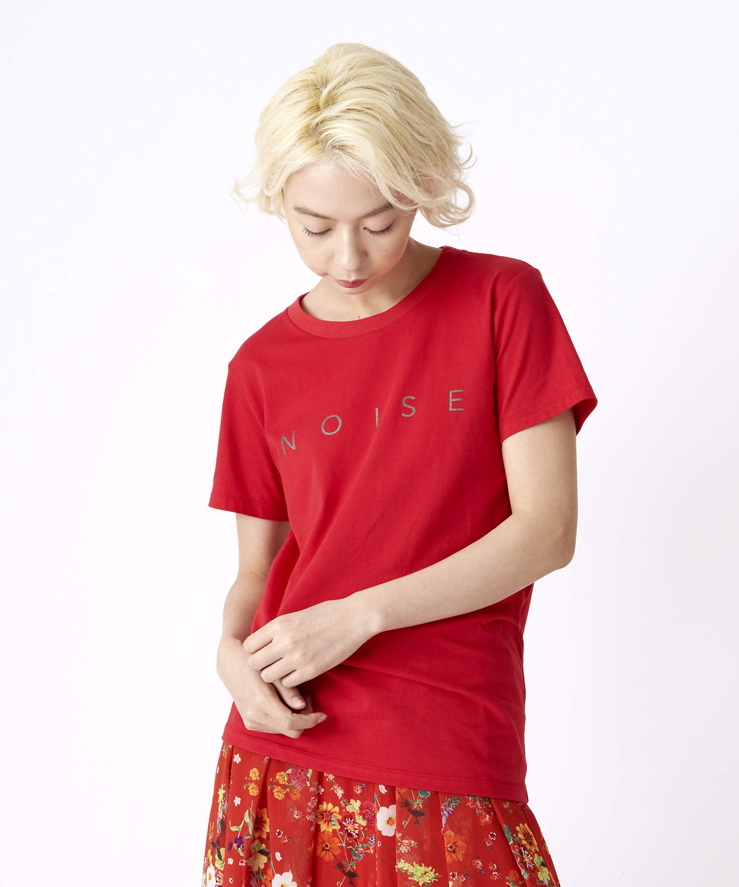 ラメロゴプリントTシャツ(レッド)