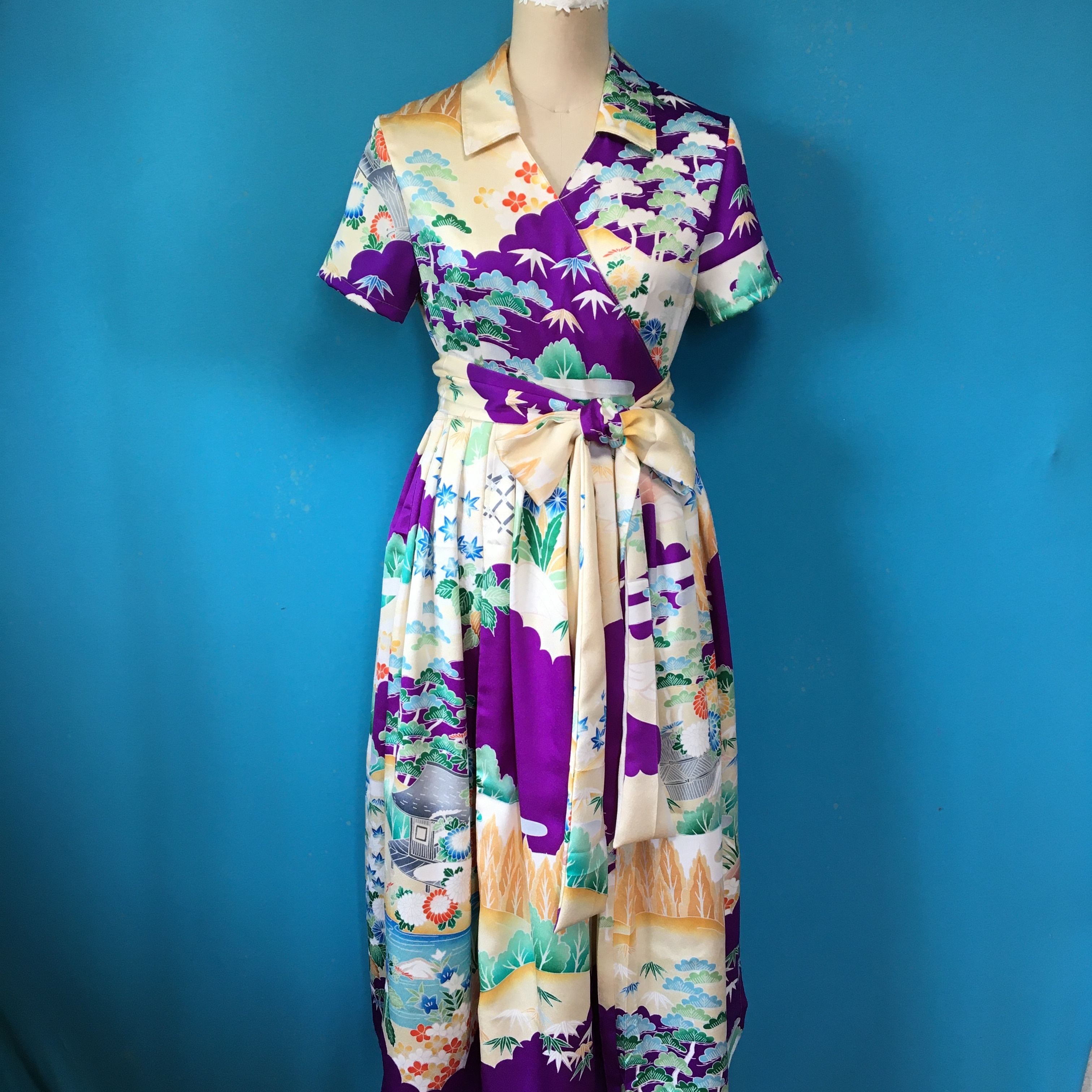 Vintage 着物の振袖 紫 ラップワンピース