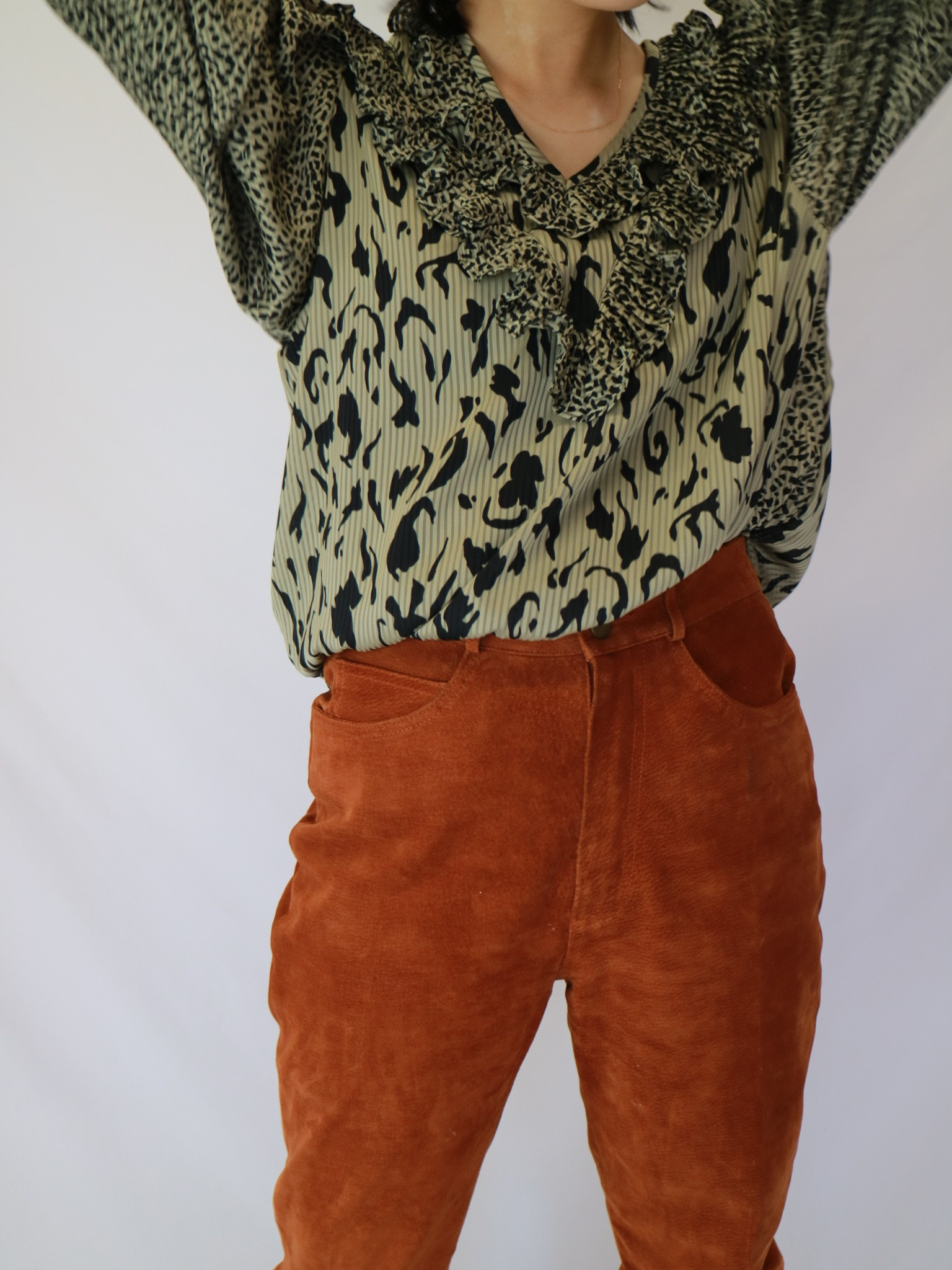 leopard frill blouse
