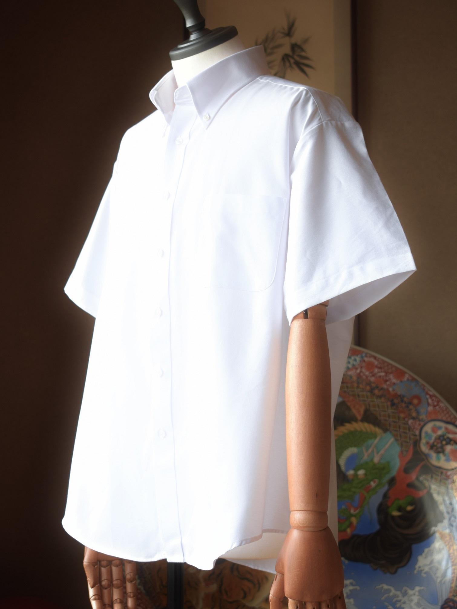 【大きめサイズ3L】無地ボタンダウン半袖シャツ(ホワイト) EW