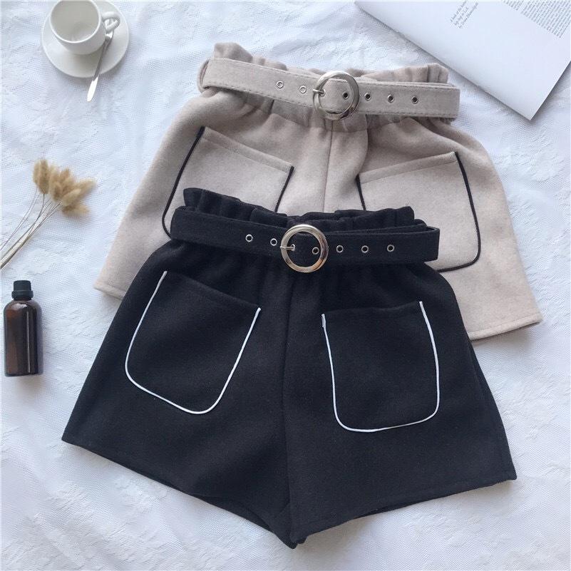 line pocket short pants