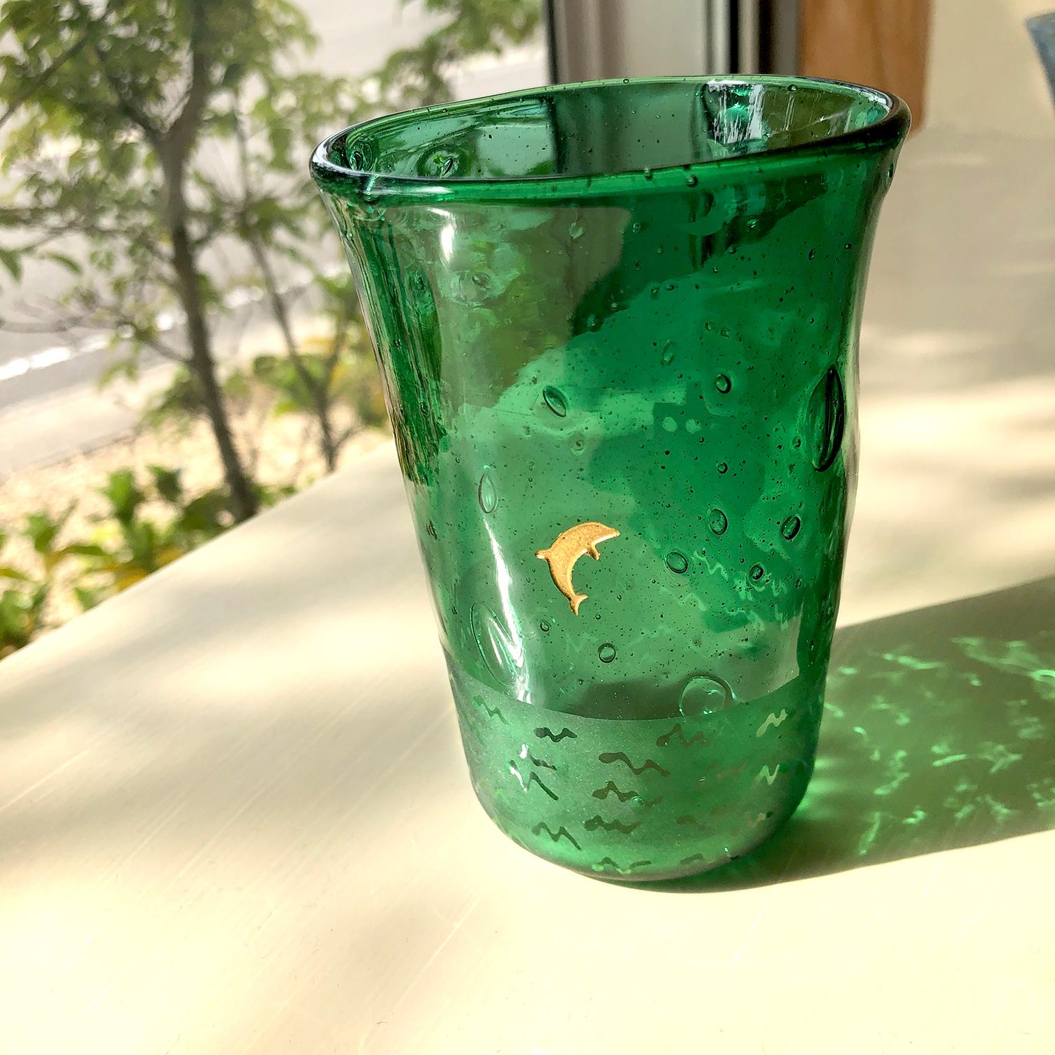 ある夜のグラス(イルカ)緑