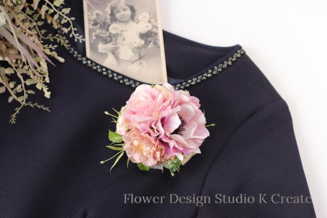結婚式・卒業式・入学式に♡ピンクのアネモネと薔薇のコサージュ  ピンク 入学式 卒業式 フォーマル パーティー 謝恩