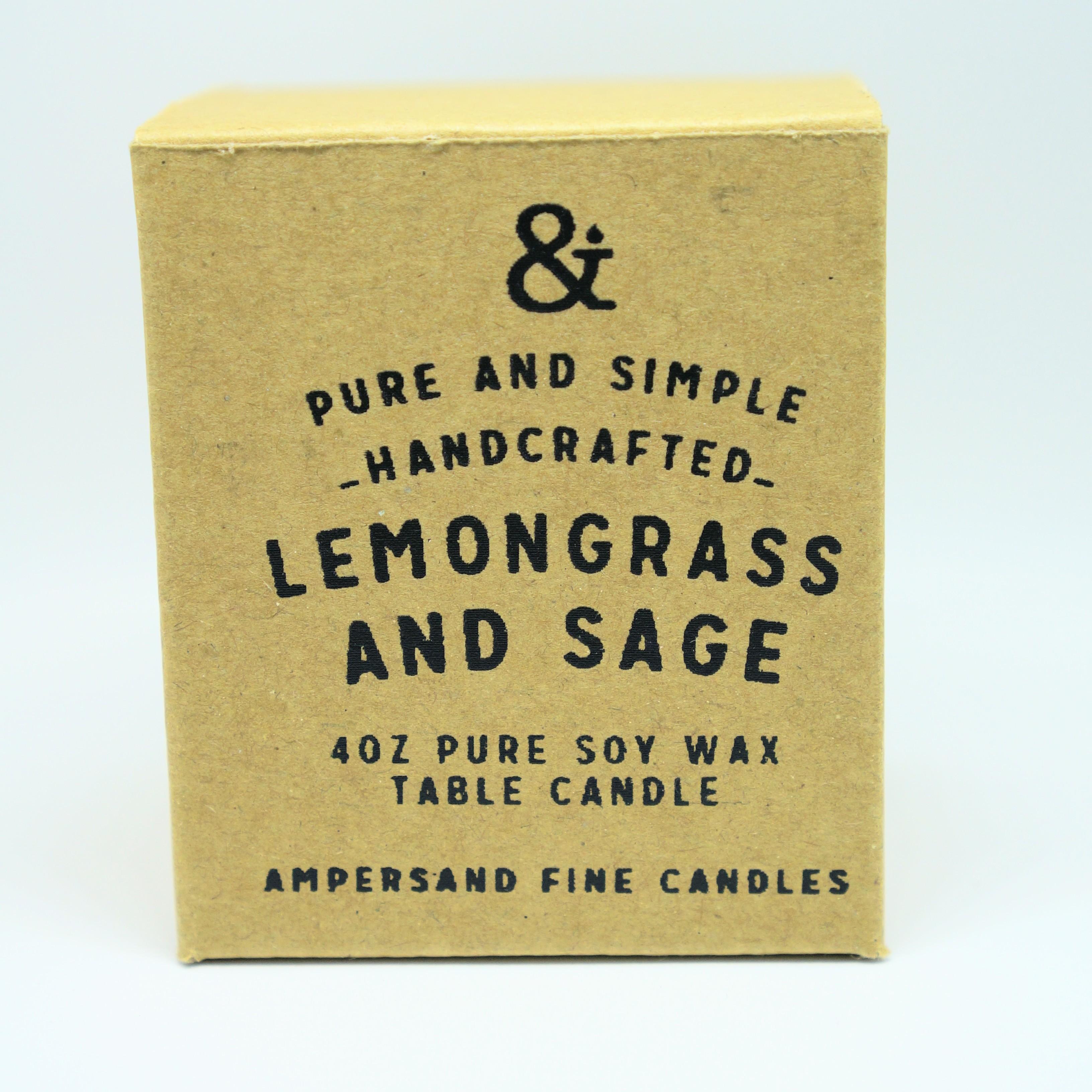 4oz Amber Jar Candle -LEMONGRASS AND SAGE- キャンドル Candles - 画像1