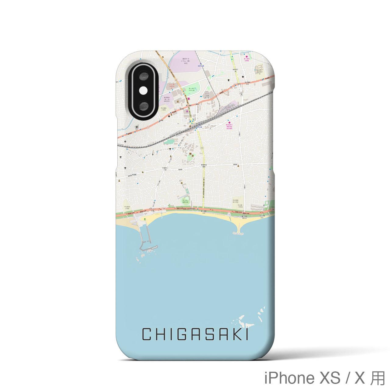 【茅ヶ崎】地図柄iPhoneケース(バックカバータイプ・ナチュラル)