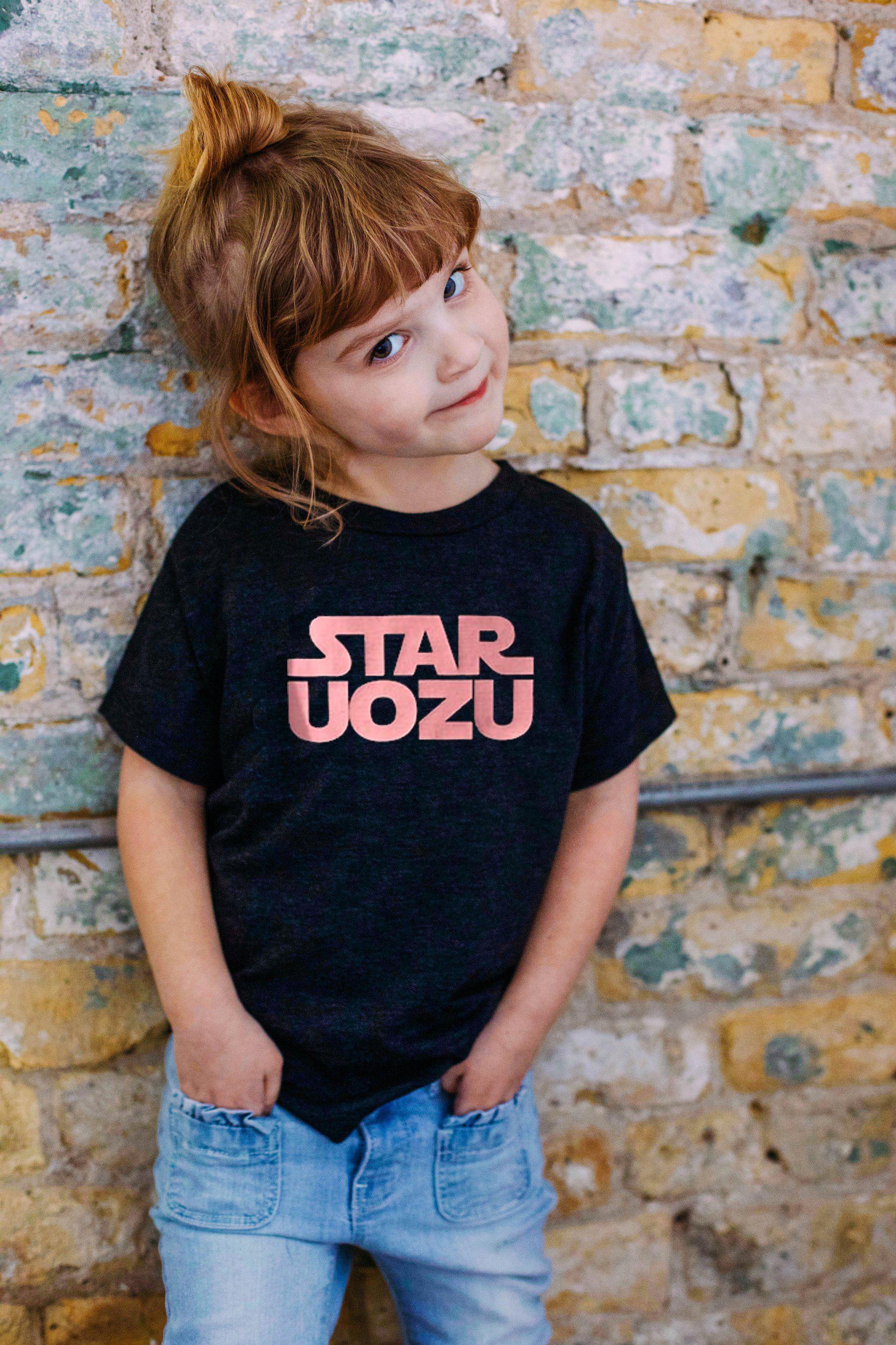 STAR UOZU キッズTシャツ ブラック×ピンク